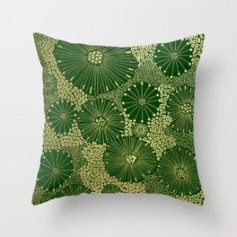 gold dandilion burst Throw Pillow