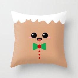 Cute Gingerbread Face Throw Pillow