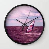 surfer Wall Clocks featuring surfer by Claudia Drossert