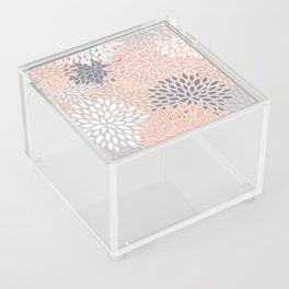 Flowers Abstract Print, Coral, Peach, Gray Acrylic Box