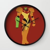 metroid Wall Clocks featuring Metroid - Minimalist by Adrian Mentus