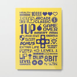 Arcade Game Text Interface Graphics - Yellow Metal Print