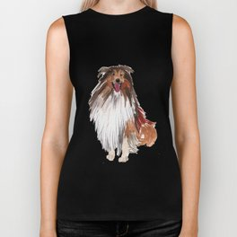 watercolor dog vol1 collie Biker Tank
