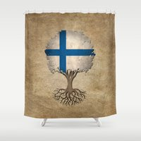 finland Shower Curtains featuring Vintage Tree of Life with Flag of Finland by Jeff Bartels