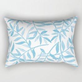 Sky Blue Watercolor Leaf Print  Rectangular Pillow