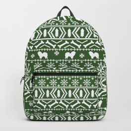 Chow Chow fair isle christmas pattern minimal ugly sweater dog breed Backpack