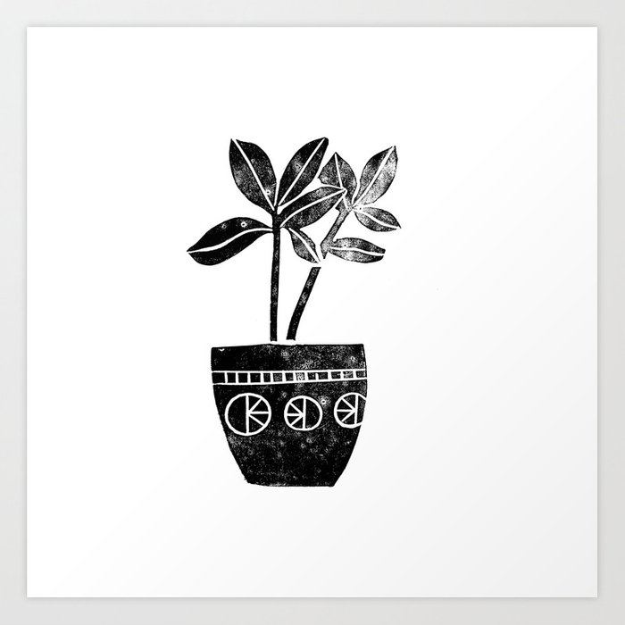 House plants linocut black and white minimal modern lino for Black and white mural prints