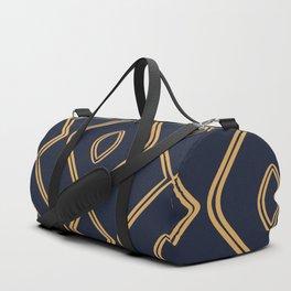 Modern Boho Ogee in Navy & Gold Duffle Bag