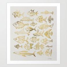 Gold-Inked Fish Art Print