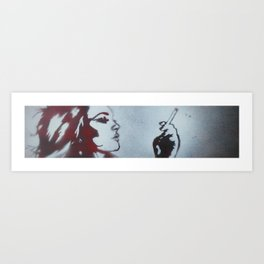 WHITE ON RED Art Print