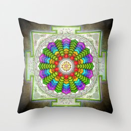 Lotus Sri Yantra Throw Pillow