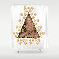 rose gold Shower Curtains featuring Rose Gold by Shannice Wollcock