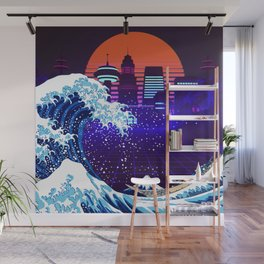 Synthwave Space: The Great Wave off Kanagawa #4 Wall Mural