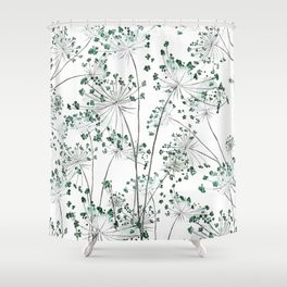 wild carrot watercolor Shower Curtain