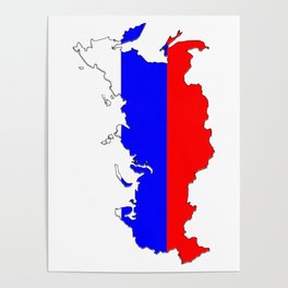Russia Map with Russian Flag Poster