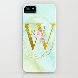 Gold Foil Alphabet Letter W Initials Monogram Frame with a Gold Geometric Wreath iPhone Case