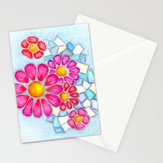 Raspberry Daisies and Icy Blue Crystals Stationery Cards