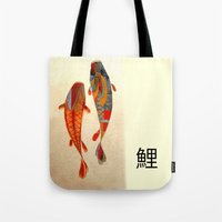 rose Tote Bags featuring Kolors Koi by Fernando Vieira