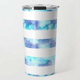 Blue & Purple Watercolor Stripes Travel Mug