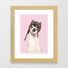 Cool Pilot Llama in Pink Framed Art Print