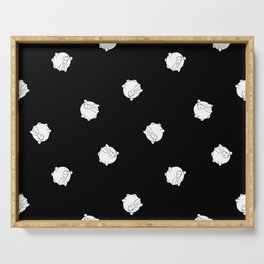 Round Bunny Pattern- White Black Serving Tray