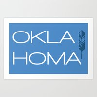 oklahoma Art Prints featuring Oklahoma by Adrienne DeWilde