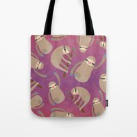 sloths Tote Bags featuring Happy Little Sloths by ponychops