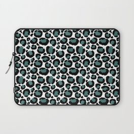 Teal Leopard Animal Print Pattern Laptop Sleeve