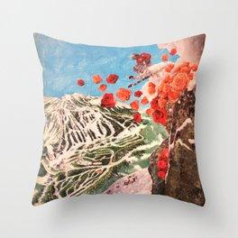 Ski Roses Throw Pillow