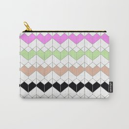 Geometric pattern. Green, brown, black, purple shapes on white. Carry-All Pouch