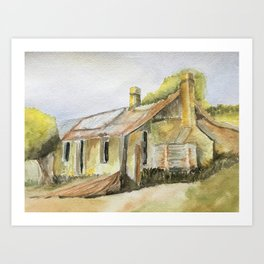 House on the Hill Watercolor Art Print
