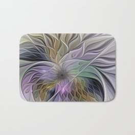 Abstract Flower, Colorful Floral Fractal Art Bath Mat