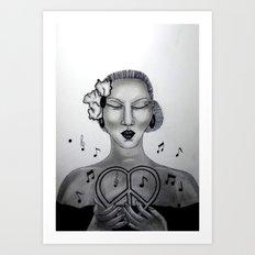 Love, Peace and Music Art Print