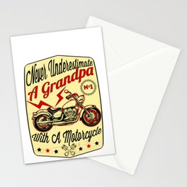 Mens Never Underestimate A Grandpa design Gift for Daddy Biker Stationery Cards