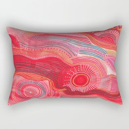 zentangle red flow Rectangular Pillow