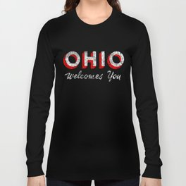 Vintage Ohio Welcome Sign Long Sleeve T-shirt