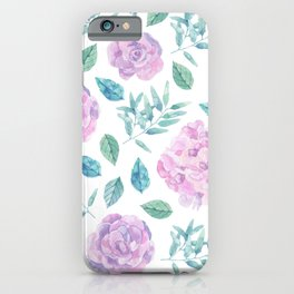 Pink roses with green leafs on black iPhone Case