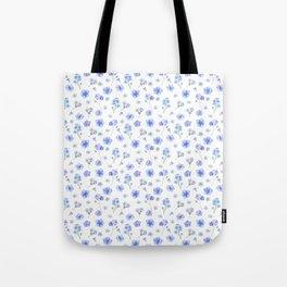 Elegant blush blue yellow watercolor floral pattern Tote Bag