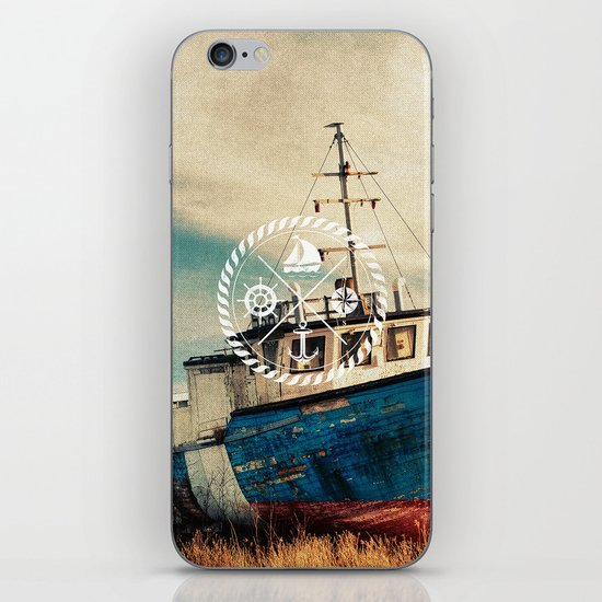 Blue Brown Vintage Nautical Anchor Sailing Boat iPhone & iPod Skin