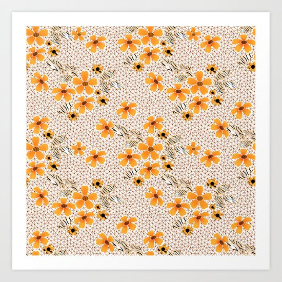 The floral pattern on the grid . Art Print