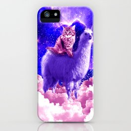 Outer Space Galaxy Kitty Cat Riding On Llama iPhone Case