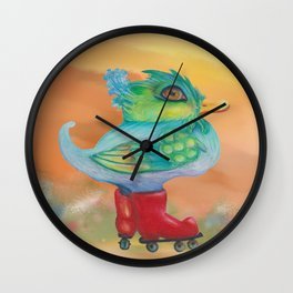 a skating snozzleberryduck day in autumn Wall Clock