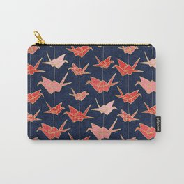 Red origami cranes on navy blue Carry-All Pouch