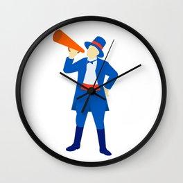 Ringmaster Shouting Bullhorn Retro Wall Clock