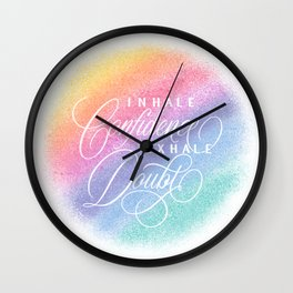 Inhale / Exhale (on white) Wall Clock