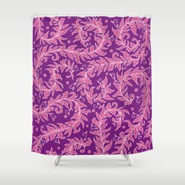 Lacy Leaves Purple Shower Curtain