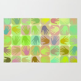 Multicolored hands pattern Rug