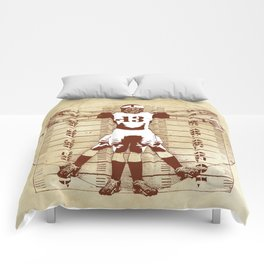 Vitruvian football player with touch of white Comforters