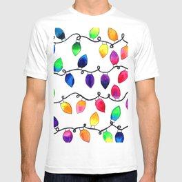 Colorful Christmas Holiday Light Bulbs T-shirt