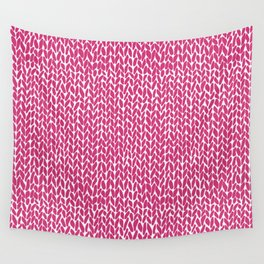 Hand Knit Hot Pink Wall Tapestry